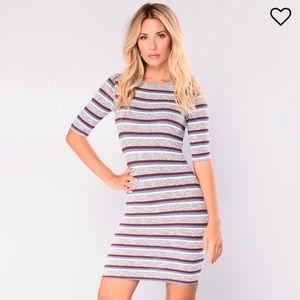 Dresses & Skirts - Fashion Nova striped mini dress small 💕